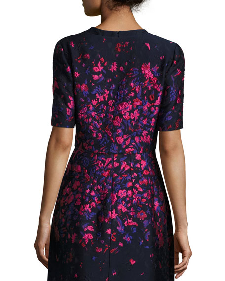 Floral-Embroidered Half-Sleeve Cropped Jacket, Navy/Hot Pink
