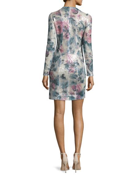 Sequined Long-Sleeve Mini Dress, Desert Rose