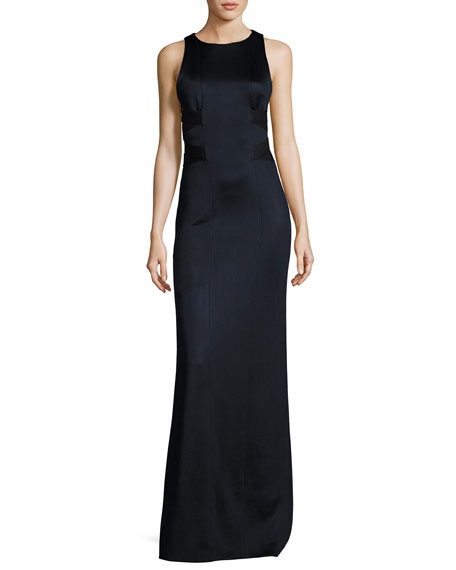 Galvan Sleeveless Cutout-Side Jersey Gown, Black