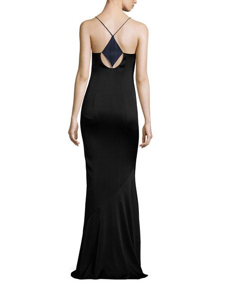 Sleeveless Cutout-Front Satin Slip Gown, Midnight/Black