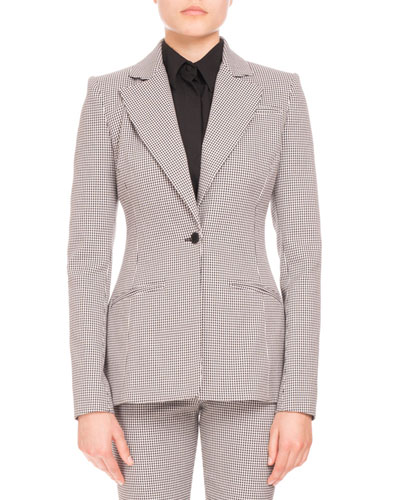 Acacia Mini-Gingham One-Button Blazer, Black/White