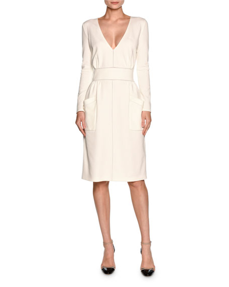 Giorgio Armani Long-Sleeve V-Neck Large-Pocket Dress, White