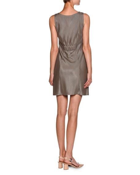 Sleeveless Laminated Jersey V-Neck Dress, Nut