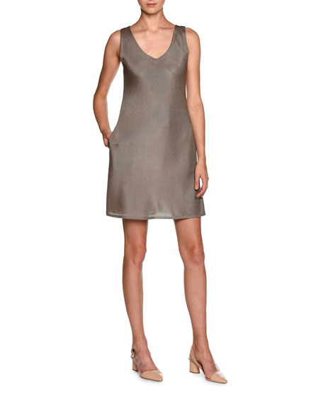 Giorgio Armani Sleeveless Laminated Jersey V-Neck Dress, Nut
