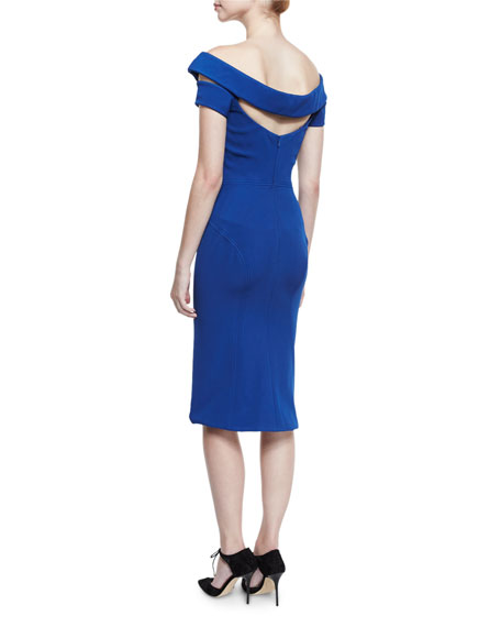 Strappy Off-the-Shoulder Cocktail Dress, Turkish Sea