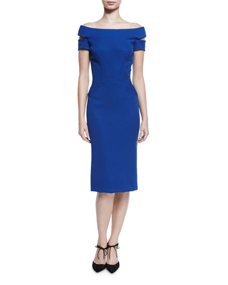 Zac Posen Strappy Off-the-Shoulder Cocktail Dress, Turkish Sea