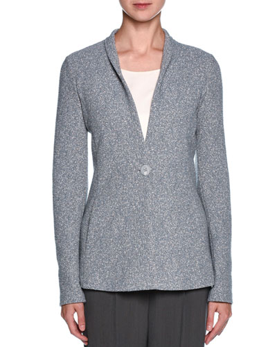 Marbled Unstructured One-Button Jacket, Light Gray