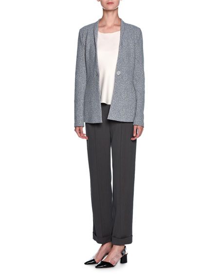Ribbon-Trim Wide-Leg Pants, Gray