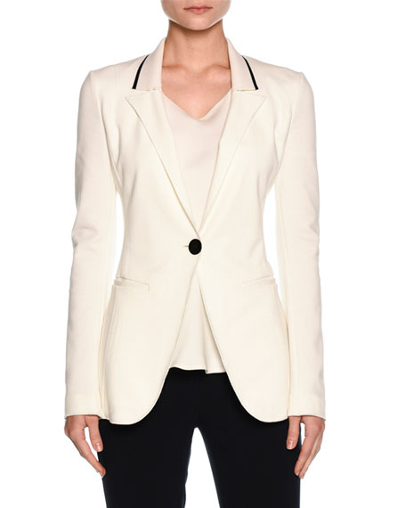 Giorgio Armani Knit-Collar One-Button Jacket, Off White
