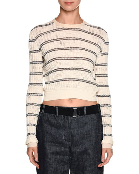 Giorgio Armani Striped Crewneck Sweater, Off White