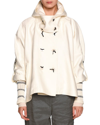 Double-Breasted Cropped Hooded Coat, White