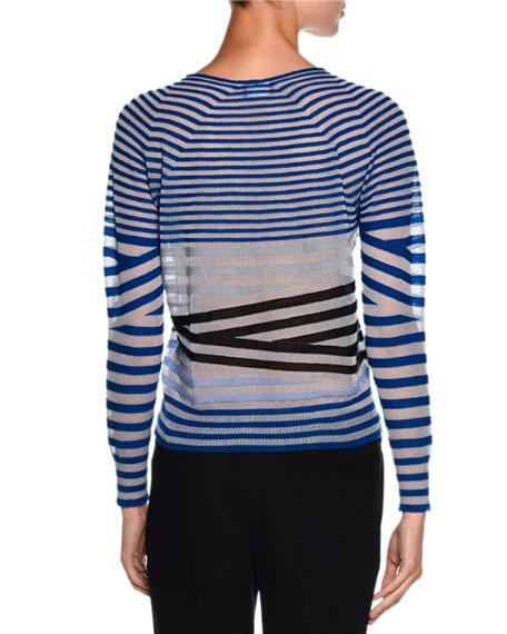 Sheer Striped Crewneck Sweater, Blue/Multi Reviews