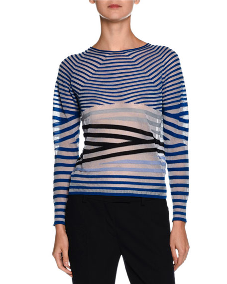 Giorgio Armani Sheer Striped Crewneck Sweater, Blue/Multi
