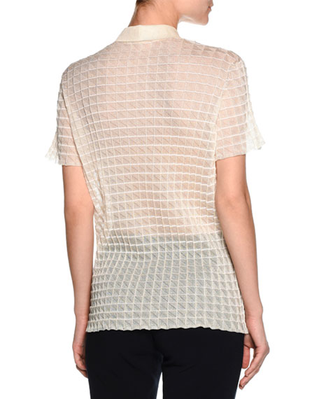 Sheer Windowpane Polo Shirt, Ivory