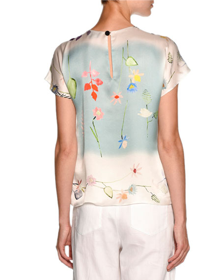 Floral Short-Sleeve Chiffon Tee, White/Multi