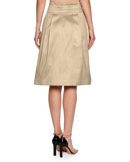 High-Waist Belted Wrap Skirt, Beige