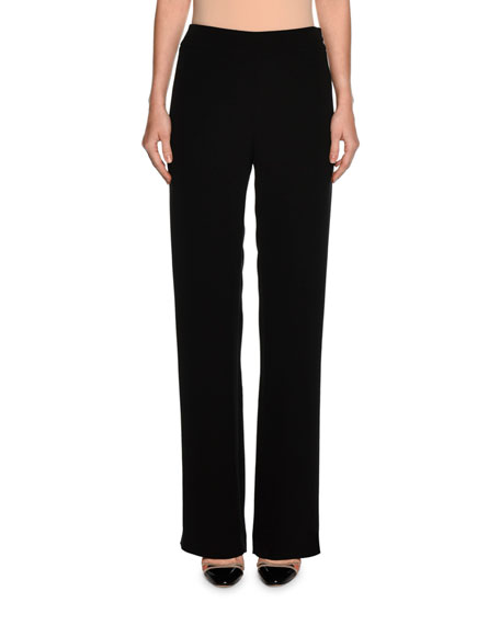 Wide-Leg Silk Pants, Black