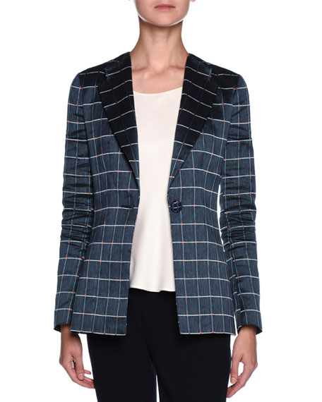 Single-Breasted Windowpane-Jacquard Jacket, Navy/White