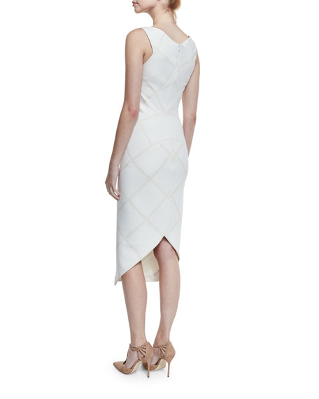 Sleeveless Tonal-Plaid Sheath Dress, White/Ivory
