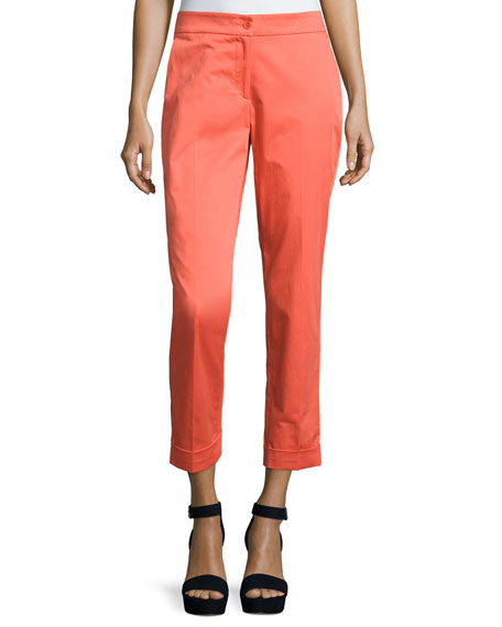 Etro Cuffed Straight-Leg Capri Pants, Orange