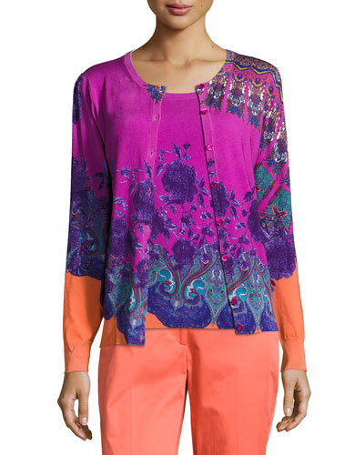 Paisley-Print Shell & Cardigan Set, Magenta/Purple