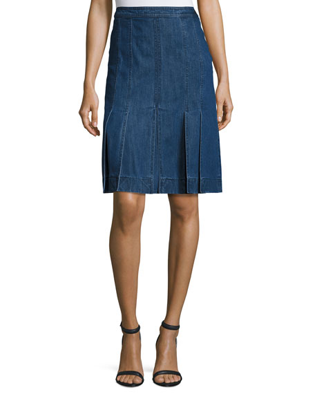 Michael Kors Collection Pleated Denim A-Line Skirt, Maritime