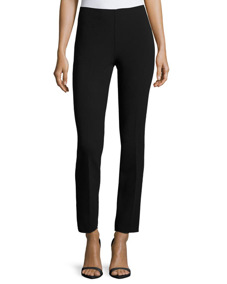 Michael Kors Collection Skinny Side-Zip Ankle Pants, Black