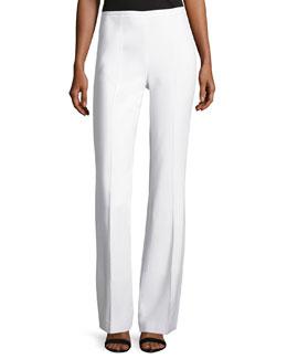 Side-Zip Flared Pants, Optic White