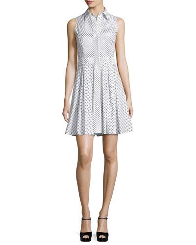 Polka-Dot Sleeveless Shirtdress, Optic White/Black