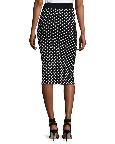 michael kors polka dot pencil skirt black white
