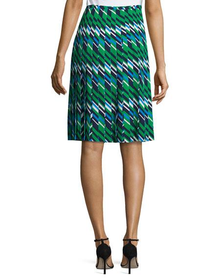 Striped Multi-Pleat A-Line Skirt, Maritime/Multi