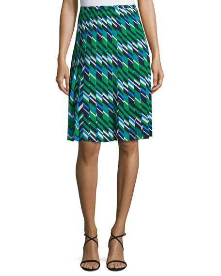 Striped Multi-Pleat A-Line Skirt, Maritime/Multi