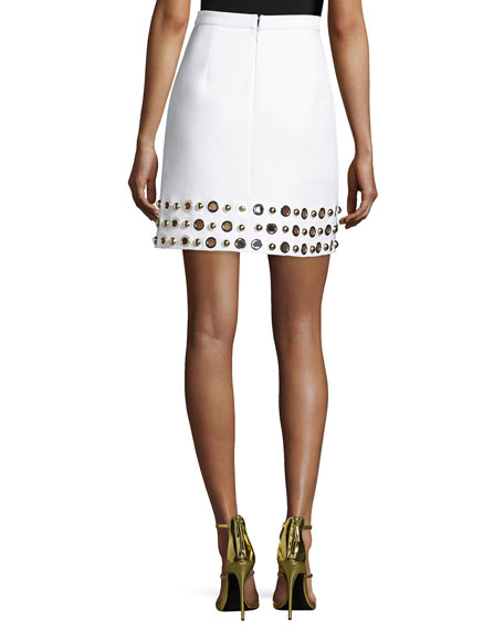 Grommet-Hem A-Line Skirt, White/Gold