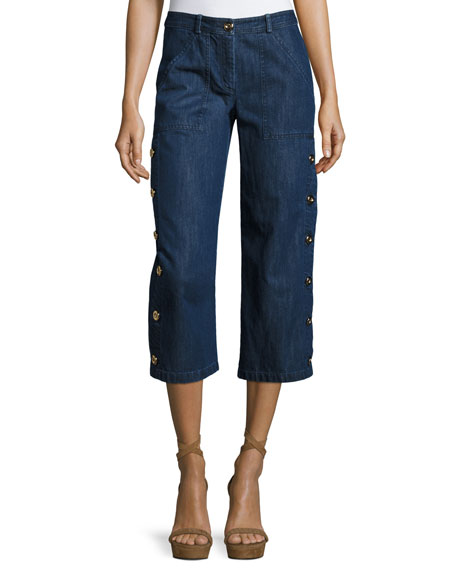 Michael Kors Collection Denim Button Cargo Pants, Maritime