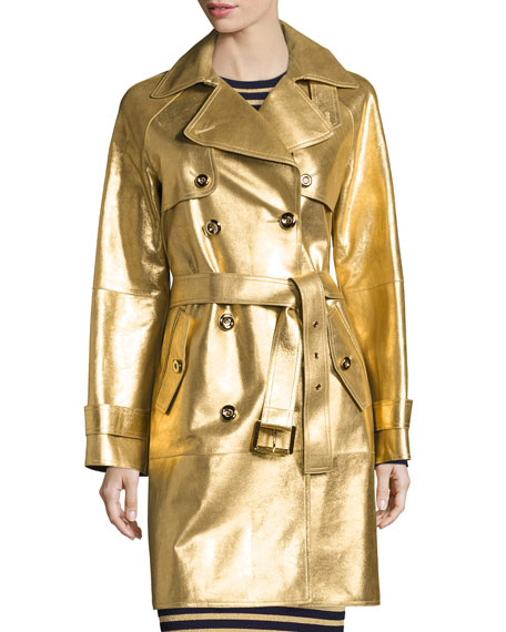 Metallic Leather Double-Breasted Trenchcoat, Gold