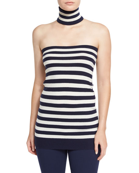 Michael Kors Collection Striped Tube Top with Choker,