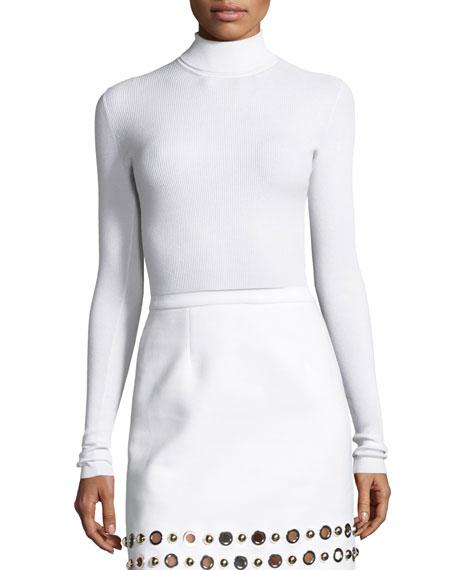 Ribbed Long-Sleeve Turtleneck Sweater, White