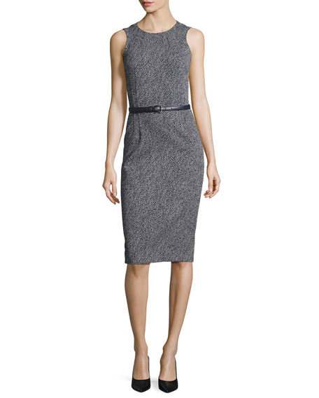 Michael Kors Collection Belted Sleeveless Sheath Dress,