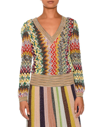 Banded-Trim V-Neck Pullover Sweater, Multi