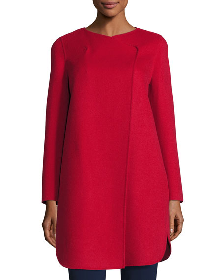 Double-Faced Wool Wrap Coat, Red