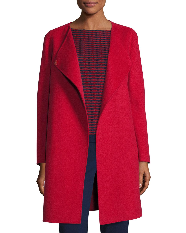 bf655ed42428 Armani Collezioni Double-Faced Wool Wrap Coat, Red | Neiman Marcus