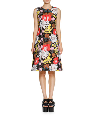 Floral-Jacquard Sleeveless Dress, Black/Multi