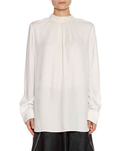 MARNI Blouses RUCHED STAND-COLLAR BLOUSE, STONE WHITE