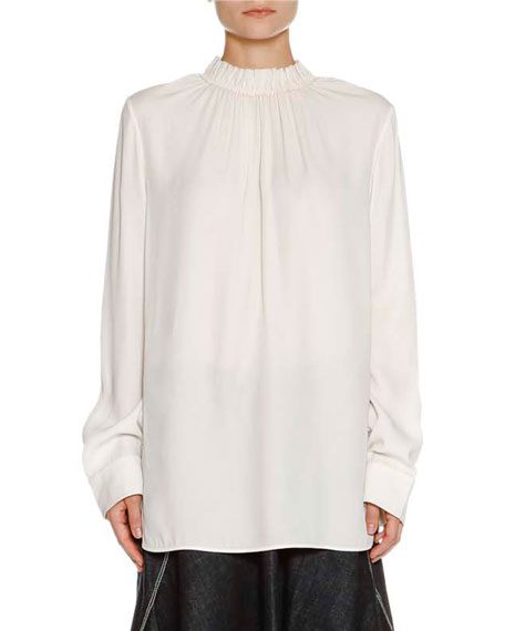 Marni Ruched Stand-Collar Blouse, Stone White