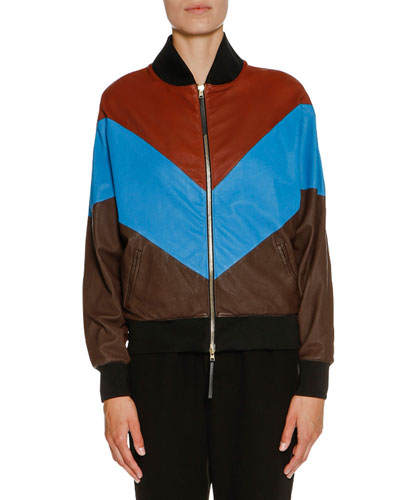 Chevron Leather Bomber Jacket, Henne/Blue/Cocoa