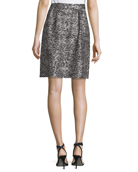 Painted Metallic Knit Skirt, Caviar