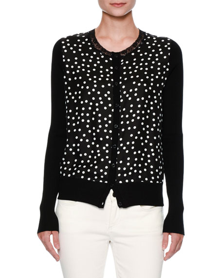 Dolce & Gabbana Lace-Trim Polka-Dot Cardigan, Black/White
