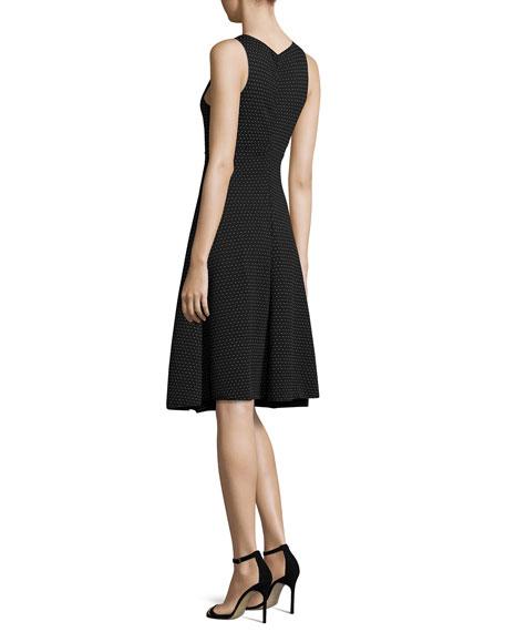 Polka-Dot Jacquard Sleeveless Dress, White/Black