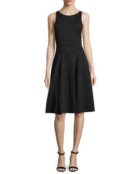 Armani Collezioni Polka-Dot Jacquard Sleeveless Dress, White/Black
