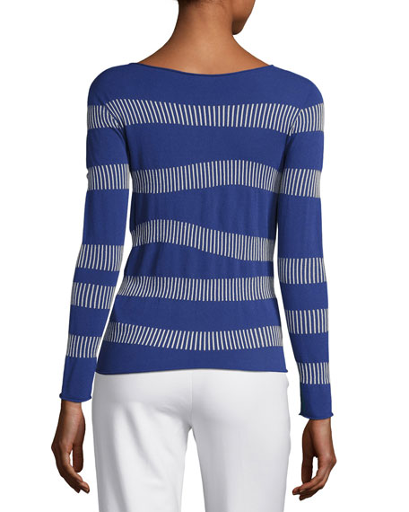 Irregular-Stripe Long-Sleeve Sweater, Blue Violet